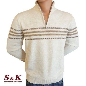 Мъжки пуловер с къс цип