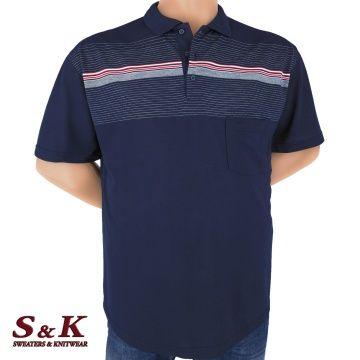 Стилна мъжка памучна блуза с яка в големи размери