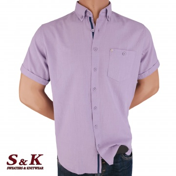 Casual Men's Shirt 50% Linen 50% Cotton with pocket and short sleeves
