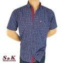 Мъжка памучна риза каре с джоб 1233