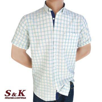 Fine men's plaid shirt 50% Linen 50% Cotton with pocket