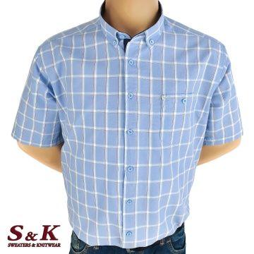Men's 100% cotton plaid shirt in large sizes 613
