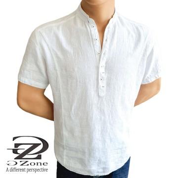 Men's Linen Robe with Short Sleeves