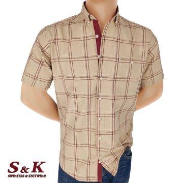 Men's cotton plaid shirt with pocket 1865
