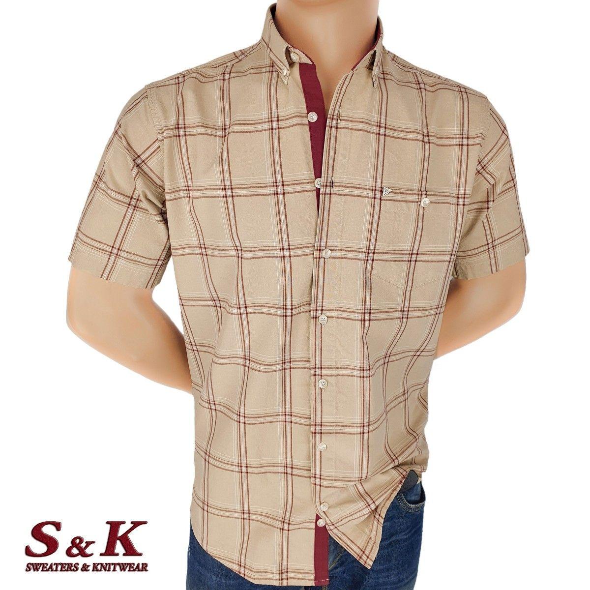 Мъжка памучна риза каре с джоб 1865
