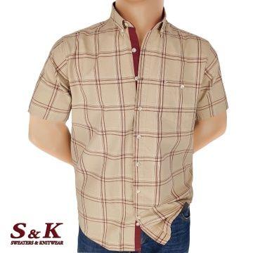 Men's cotton plaid shirt in large sizes 621