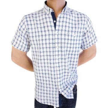 Fine men's plaid shirt 50% Linen 50% Cotton 1191