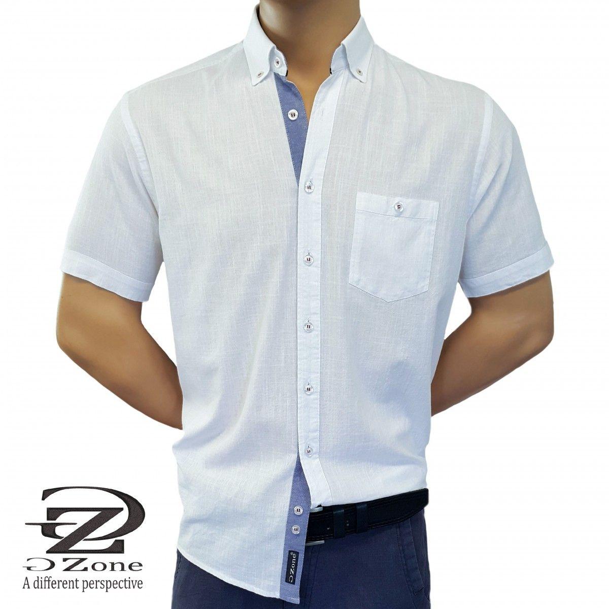 Мъжка риза Лен/Памук с класическа яка