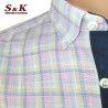 Мъжка Риза в цветно каре 50% Лен и 50% Памук