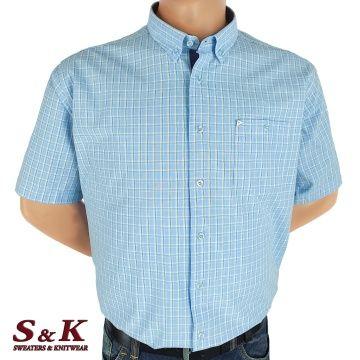 Men's cotton plaid shirt in large sizes 581