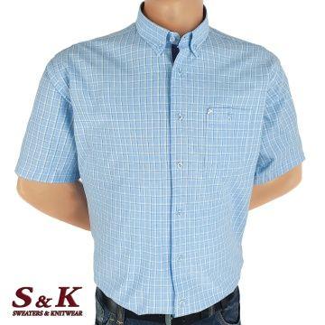 Мъжка риза варен памук в каре 1801