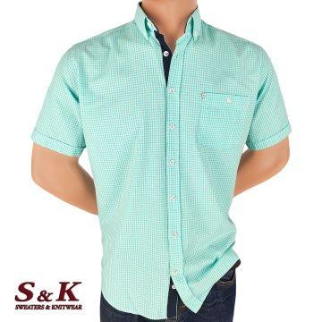 Men's 100% cotton fine plaid shirt 533