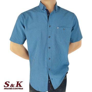 Men's 100% cotton fine plaid shirt 1761