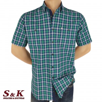 Men's plaid shirt 100% cotton with two pockets 1824