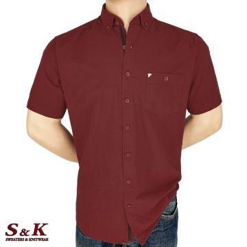 Мъжка Памучна Риза с Къс Ръкав 2027