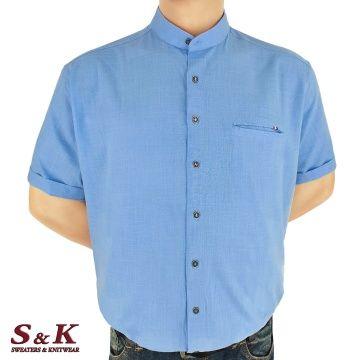Големи мъжки ризи 50% Лен и 50% Памук с войнишка яка 446