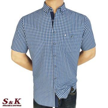 Мъжка Памучна Риза с Къс Ръкав 2082