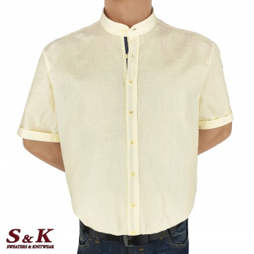 Големи мъжки ризи 50% Лен и 50% Памук с войнишка яка 104