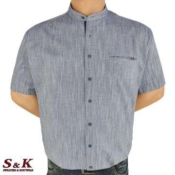 Големи мъжки ризи 50% Лен и 50% Памук с войнишка яка 447