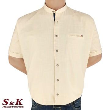 Големи мъжки ризи 50% Лен и 50% Памук с войнишка яка 450