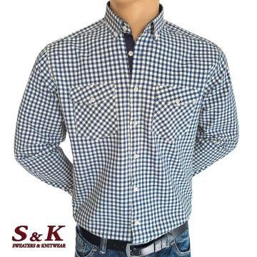 Мъжка риза ситно каре с два джоба