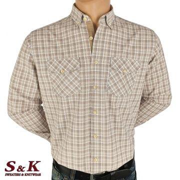 Мъжка памучна риза каре с два джоба - 1861