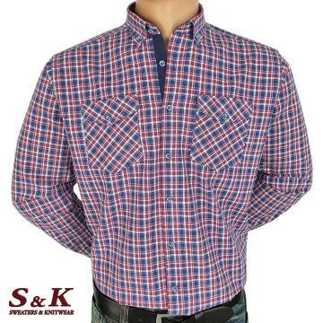 Mъжка памучна риза каре с два джоба - 1863