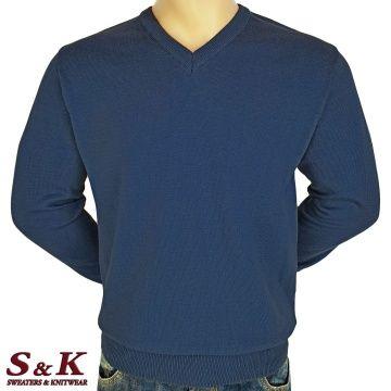 Мъжки едноцветни пуловери от 100% памук 12-1