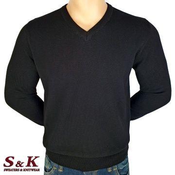 Мъжки едноцветни пуловери от 100% памук 12-3