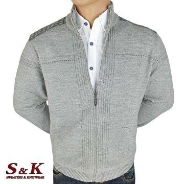 Елегантна мъжка жилетка с цип и джобове - 2046