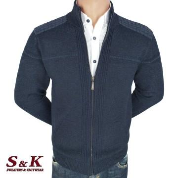 Елегантна мъжка жилетка с цип и джобове - 2046-1
