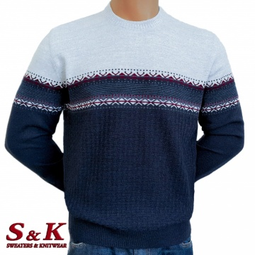 Луксозен двуцветен мъжки пуловер