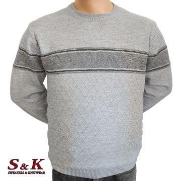 Луксозен пуловер в големи размери с обло деколте 2252