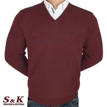 Луксозен мъжки пуловер с остро деколте - 2092