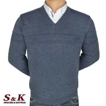 Луксозен мъжки пуловер с остро деколте - 2092-1