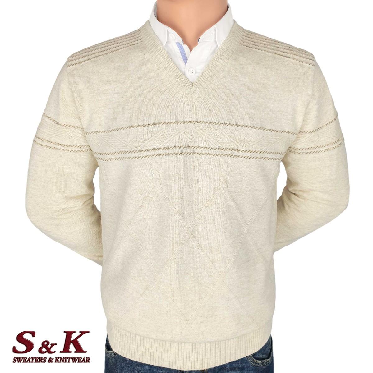 Луксозен мъжки пуловер с остро деколте - 2092-2
