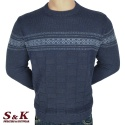Луксозен мъжки пуловер с обло деколте - 2242