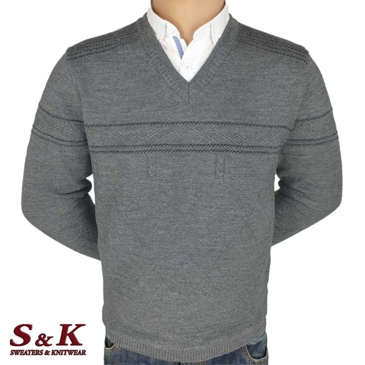 Луксозен мъжки пуловер с остро деколте - 2092-3