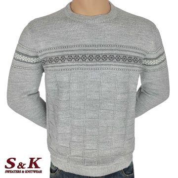 Луксозен мъжки пуловер с обло деколте - 2242-1