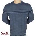 Луксозен мъжки пуловер с обло деколте - 2242-2