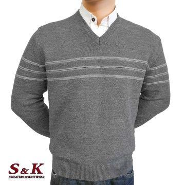 Луксозен мъжки пуловер с V деколте - 2145-1
