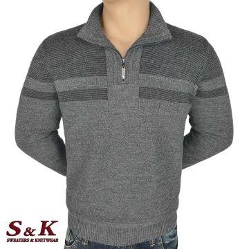 Луксозен мъжки пуловер с висока яка и цип - 2308