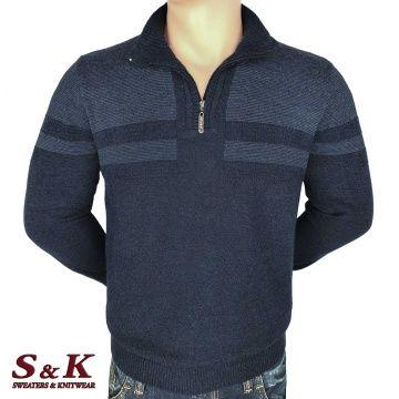 Луксозен мъжки пуловер с висока яка и цип - 2308-2