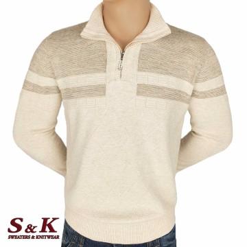 Луксозен мъжки пуловер с висока яка и цип - 2308-3