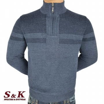 Luxury men's sweater with high collar and zipper 2308-4