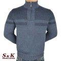 Луксозен мъжки пуловер с висока яка и цип - 2308-4