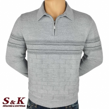 Luxury men's sweater with polo collar and zipper - 2310-2