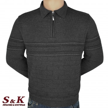 Luxury men's sweater with polo collar and zipper - 2310-4
