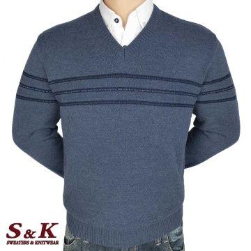 Луксозен мъжки пуловер с V деколте - 2145-2