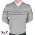 Луксозен мъжки пуловер с V деколте - 2145-5